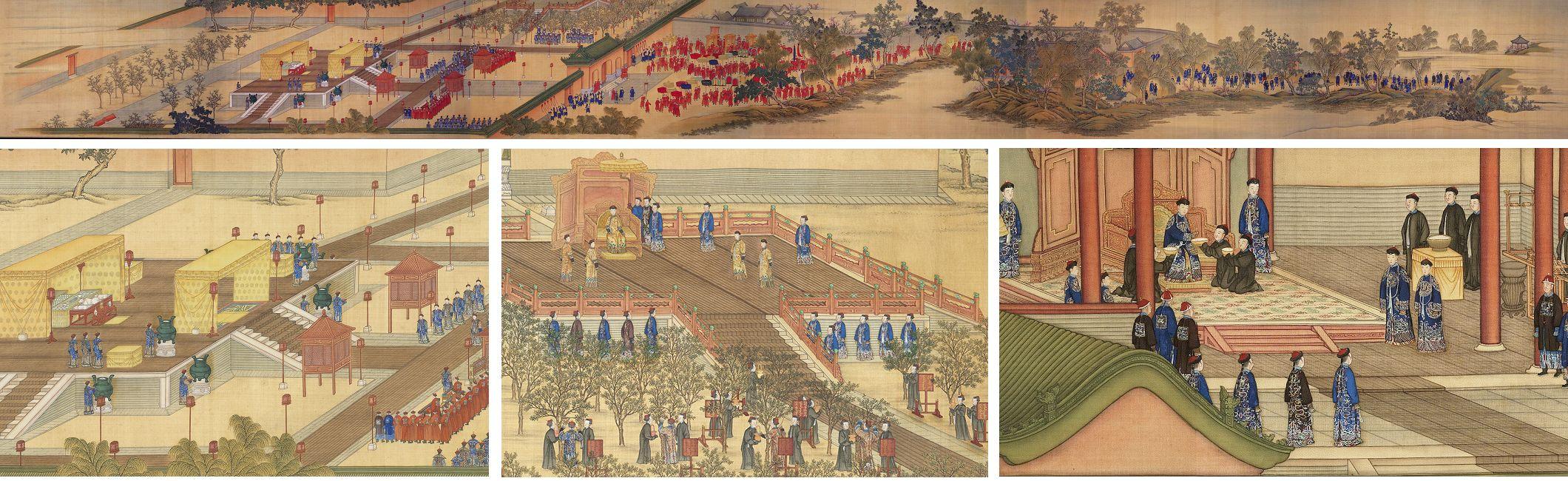 上、左下:《孝賢純皇后親蠶圖》卷,卷一「祭壇」之概要及局部。下中:卷三「採桑」之局部。右下:卷四「獻繭」之局部。