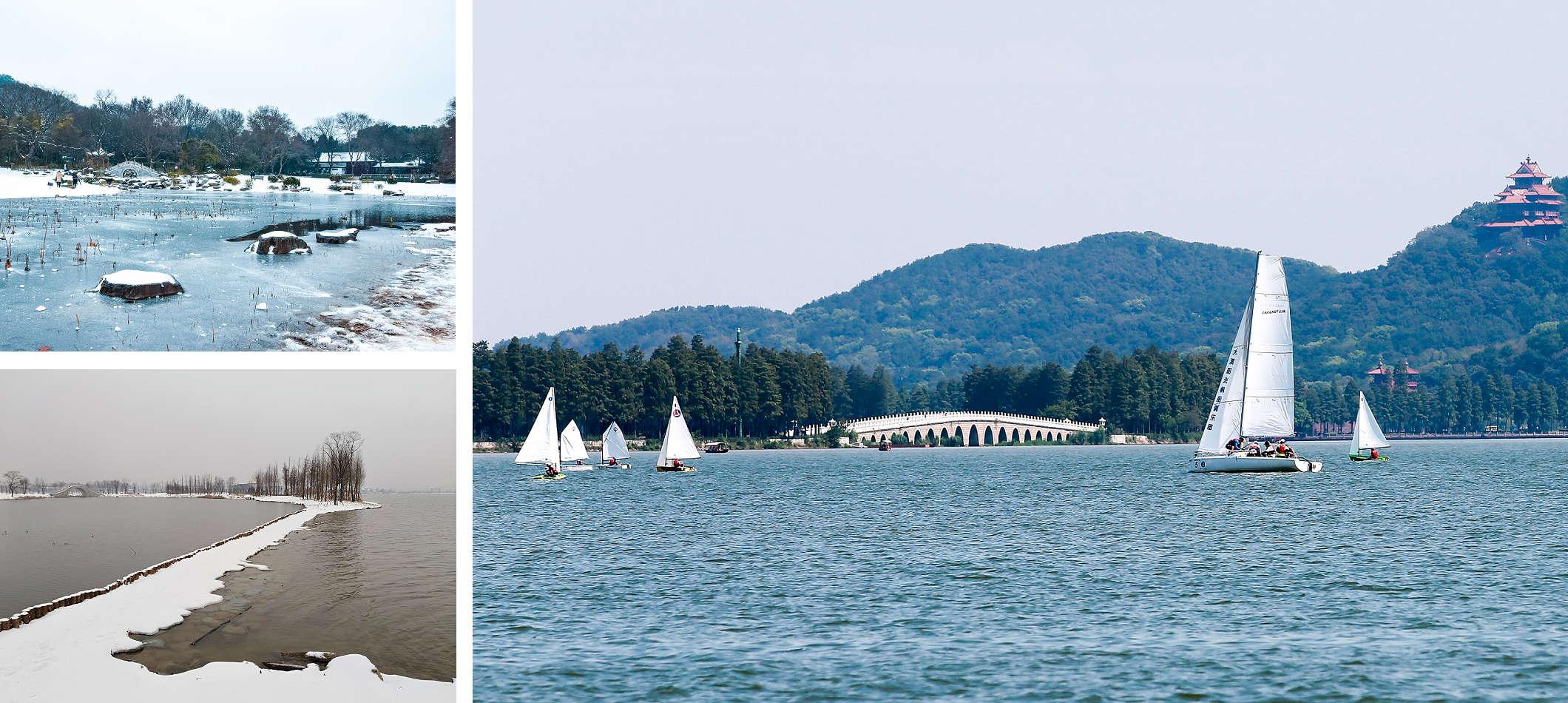左上、左下:冬雪中的東湖。右:秋高氣爽的東湖,格外秀麗。