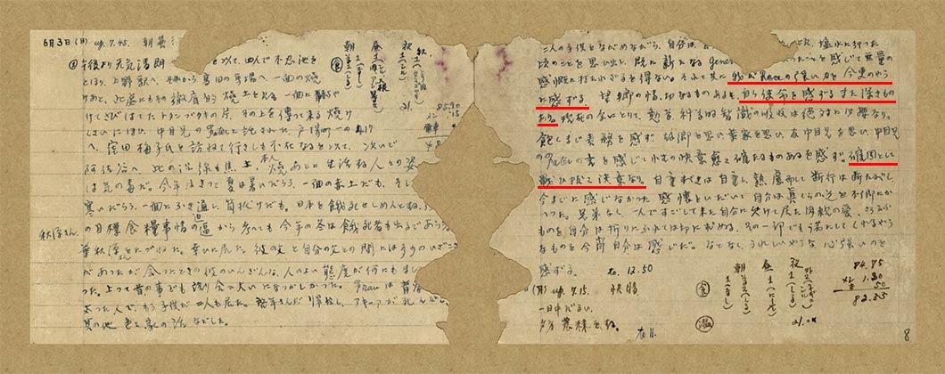 1945年6月3日,葉盛吉在其日記中寫道(見紅線處):「余感受我race(民族、人種)力量之強大,莫過於今日。……對自己之使命感更深一層矣。……余意已決,堅決戰鬥到底矣。」