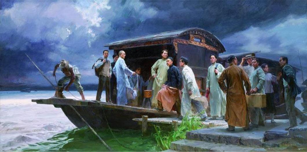 1921年7月,中國共產黨成立。同月23日,中國共產黨第一次全國代表大會於上海法租界召開,中途受巡捕房密探侵擾,後轉移至浙江省嘉興市南湖的一艘畫舫繼續進行。