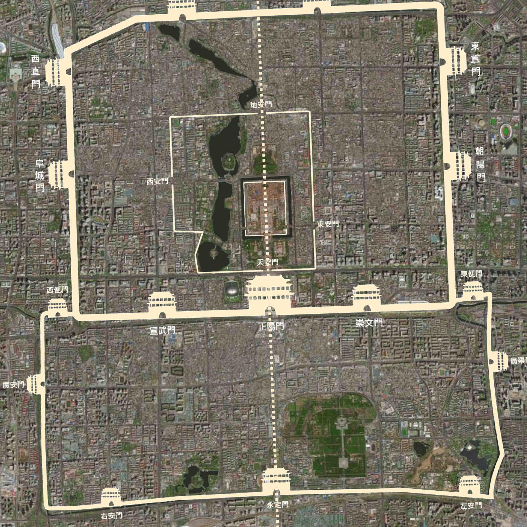 北京中軸線,南北貫穿老北京城的中心(圖為凸字形的老北京城衛星空照,與北京中軸線)。