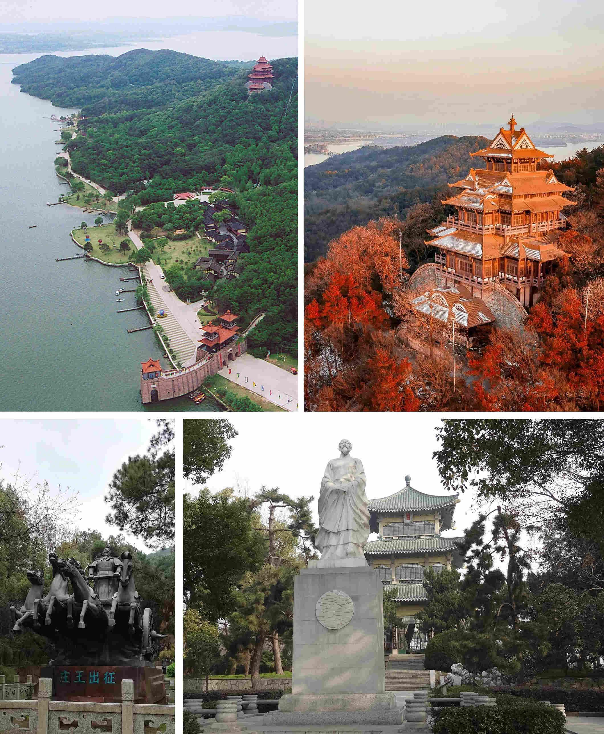 上左、上右、下左:東湖磨山區的楚城俯瞰、楚天台、楚莊王出征雕塑。下右:聽濤區的行吟閣與屈原雕塑像。